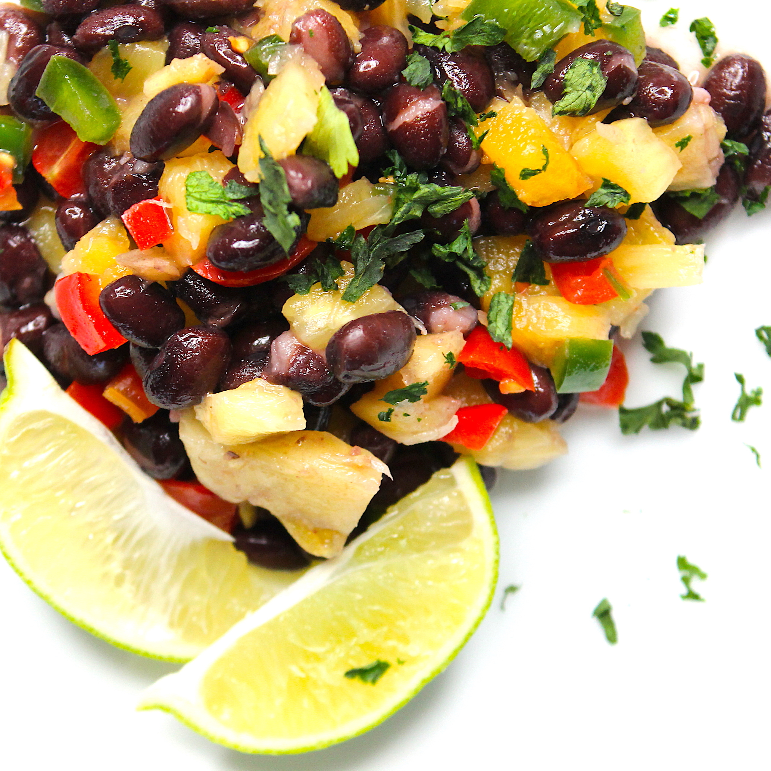 black beans with pineapple and limes