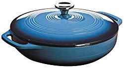 blue lodge brand enamel saute pan with lid