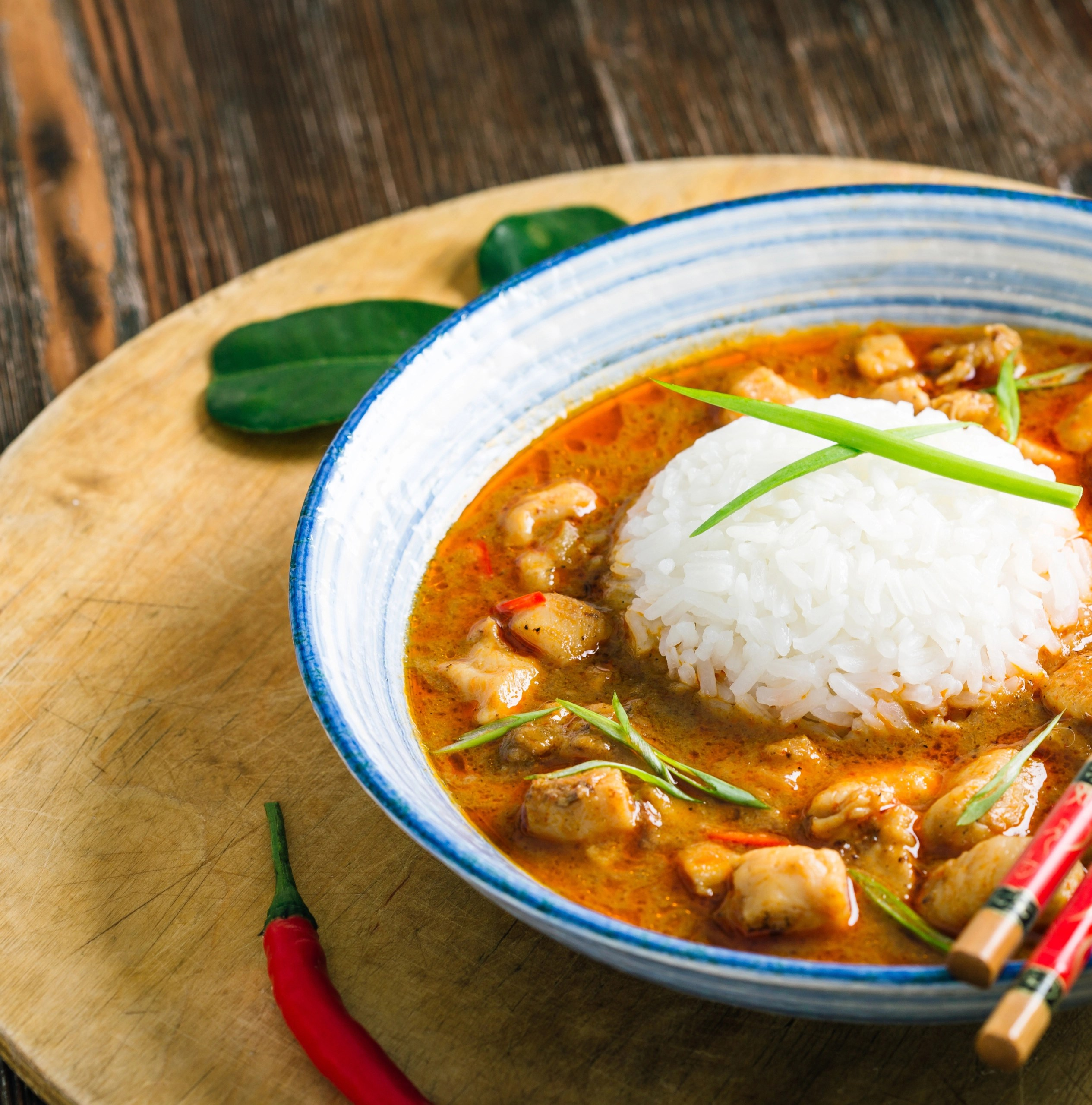 massaman curry in bowl with chopstic