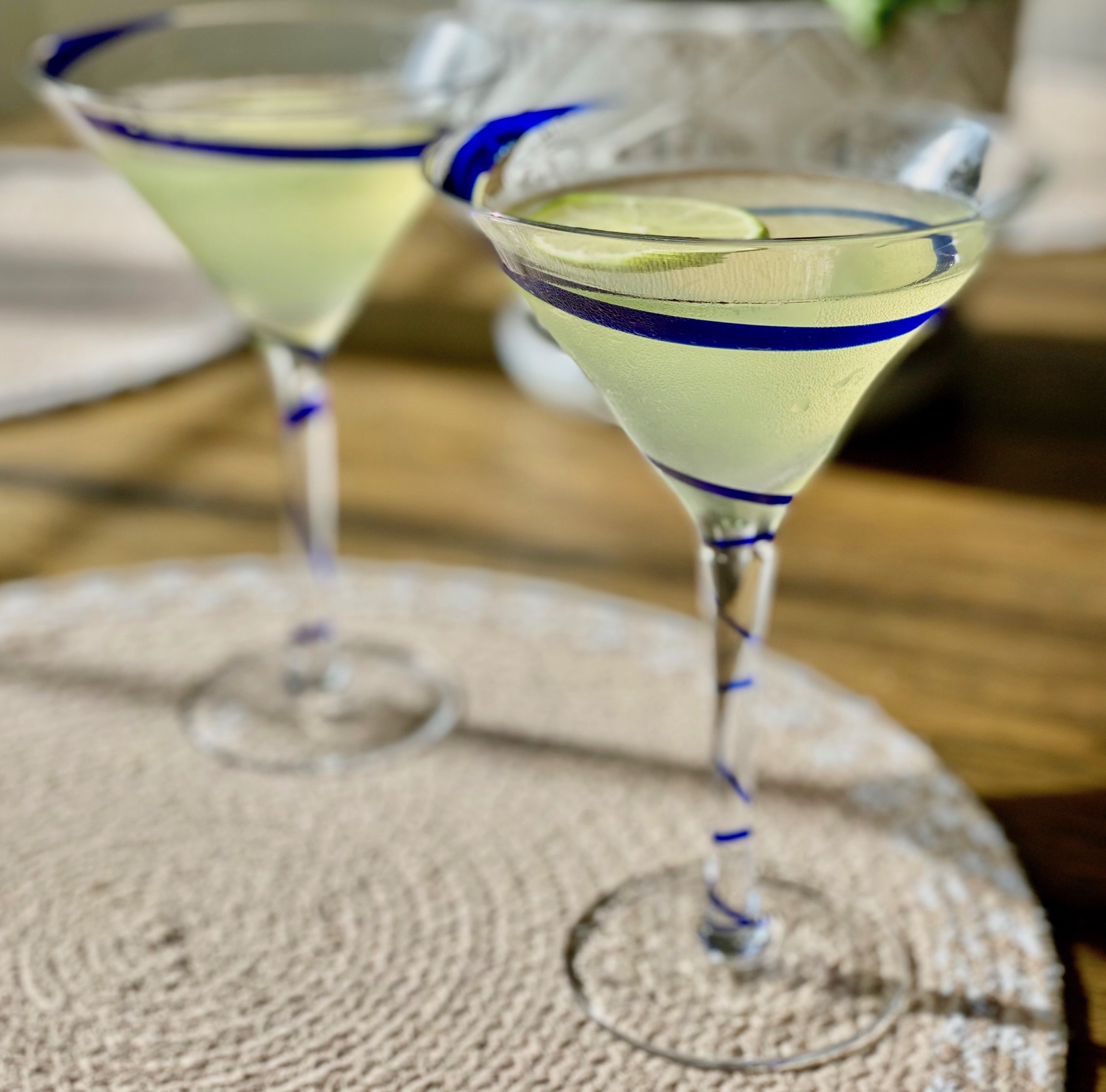 Basil Gimlet Cocktails in Martini Glass
