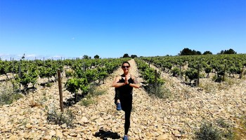 Ewa from Vine and Soul doing Yoga in Chateauneuf Du Pape