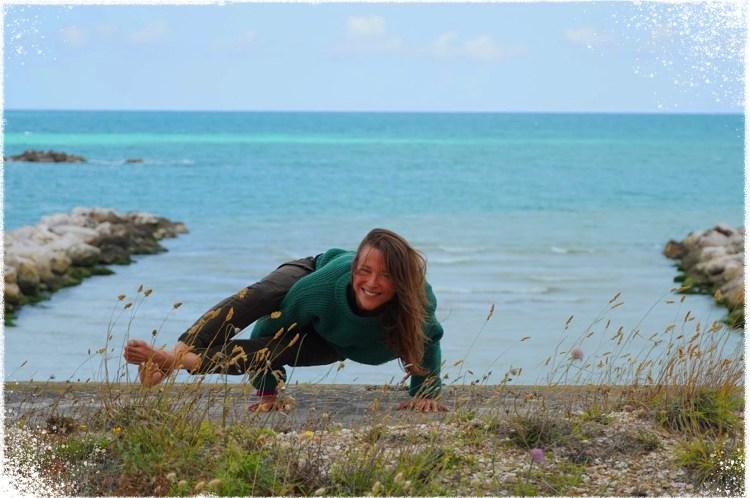 Ewa Yoga Class Outside on Beach Yoga Blurred Background