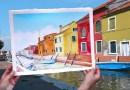 Художница публикует в инстаграме фотографии своих рисунков, совмещённых с реальными пейзажами.