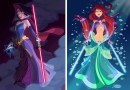 Художник изобразил диснеевских принцесс в образе персонажей из «Звездных войн».