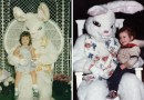 Винтажные фотографии детей с пасхальными зайцами, которые явно неадекватны.