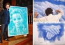 Видео: Парень использует ткань для тюлей и утюг для создания своих удивительных композиций.