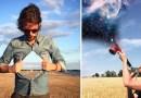 Фотограф делает простые снимки на телефон, добавляя им разные удивительные эффекты.
