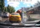 Видео: Взрыв ассенизатора посреди проезжей части в Москве.