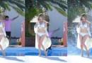 Остроумный фотограф из Японии создал эффект брызг с помощью падающего в бассейн тела.