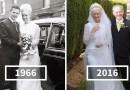 Пара отпраздновала свой 50-летний юбилей свадьбы, надев те же наряды, которые были на них в 1966 году.
