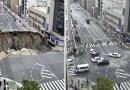В Японии огромную дыру в провалившейся дороге заделали в течение 48 часов.
