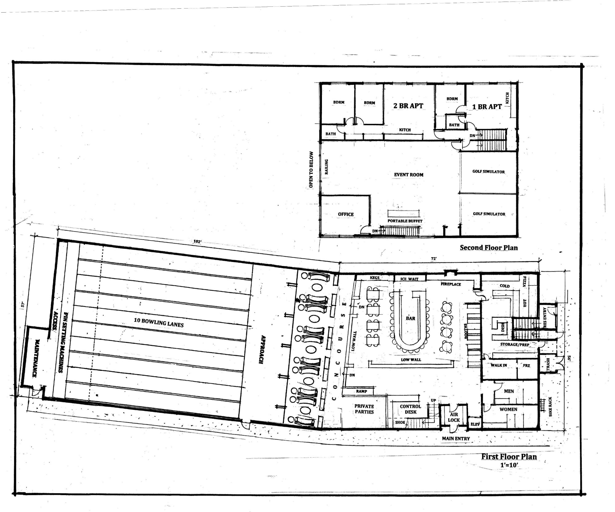 hight resolution of floor plans for proposed bowling alley
