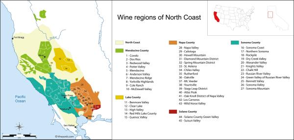 United States Map of Vineyards Wine Regions
