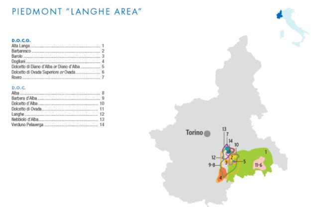 Carte viticole du Langhe