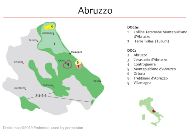 Carte vinicole des Abruzzes