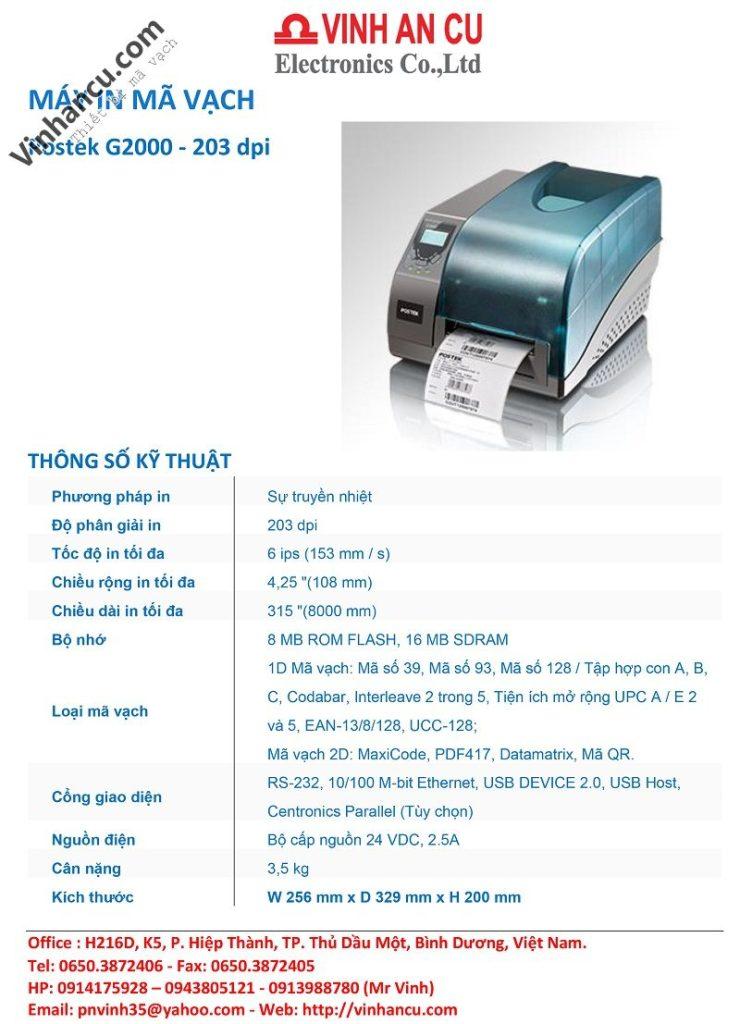 giá postek g2000 203 dpi, postek g2000e máy in rfid giá rẻ