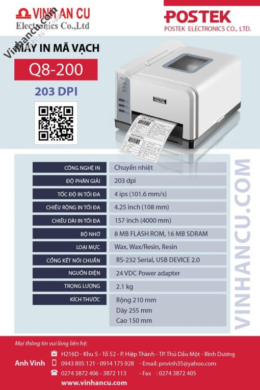 giá bán máy postek q8 203 dpi rẻ nhất