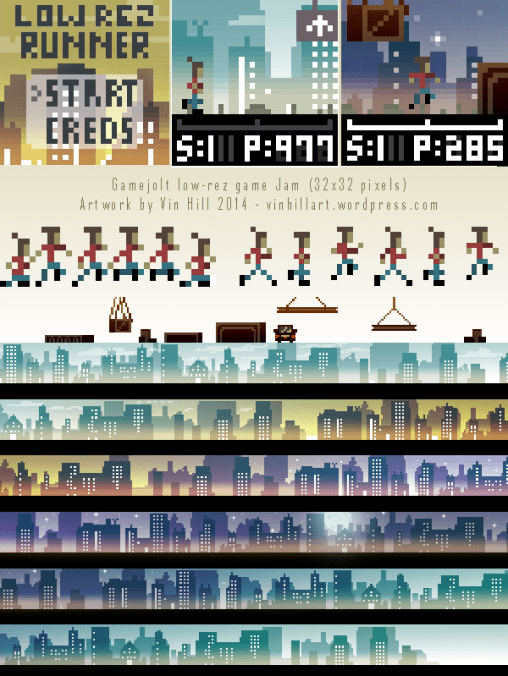 4 hours - Play the game here! http://gamejolt.com/games/arcade/low-rez-runner/27452/