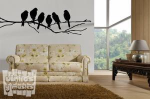 Vinilo decorativo pájaros posados en rama.
