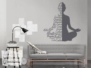 Vinilo decorativo Buda palabras meditación.