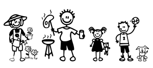 muñecos familia muestra