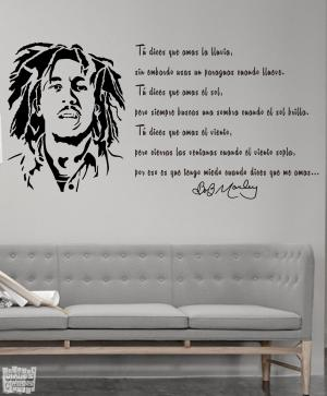 Vinilo decorativo Bob Marley + frase