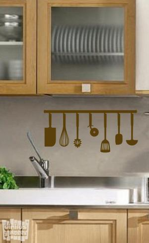 Vinilo decorativo utensilios cocina barra