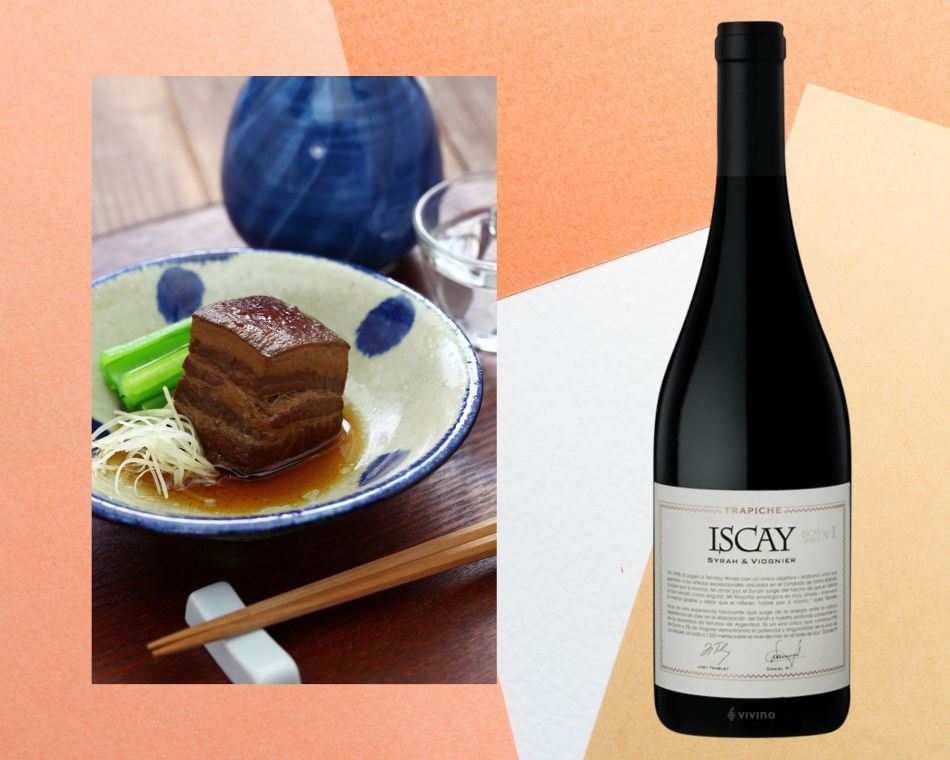 Braised pork belly with Trapiche Iscay Syrah and Viognier 2015, Uco Valley, Argentina (pic: Vino Joy News)