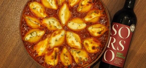 ппаста с сыром и соусом болоньезе + Nero d'Avola