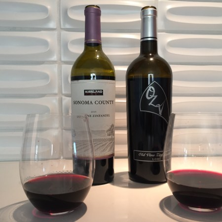 Bottles of 2015 Kirkland Signature Sonoma County Zinfandel and 2016 OZV Lodi Zinfandel