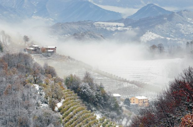 Valdobbiadene under a dusting of winter snow