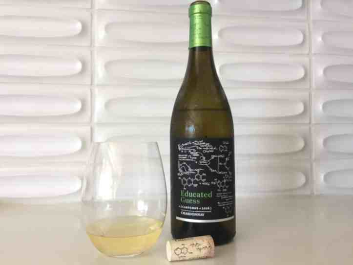 Photo of Educated Guess 2016 Chardonnay from Costco, in the bottle and the glass.