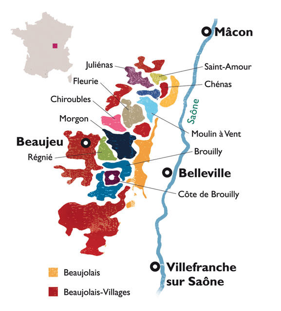 Map of Beaujolais, France