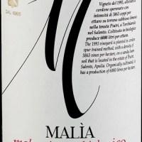 Azienda Agraria Duca Carlo Guarini  Nomination per la Corona Vini Buoni D'Italia a  Malìa vino biologico da Malvasia Nera