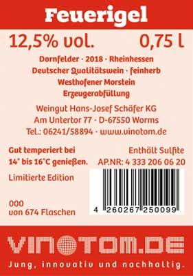 Etikett Rueckseite - Feuerigel - Rotwein - Dornfelder - feinherb