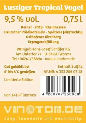 Etikett Rückseite - Lustiger Tropical Vogel - Weißwein - Kerner - Spätlese feinfruchtig