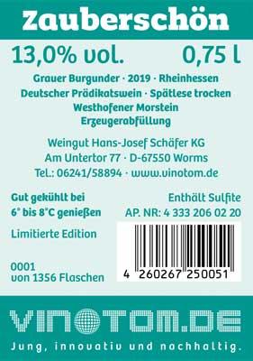 Etikett Rückseite - Zauberschön - Weißwein - Grauer Burgunder - Spätlese trocken