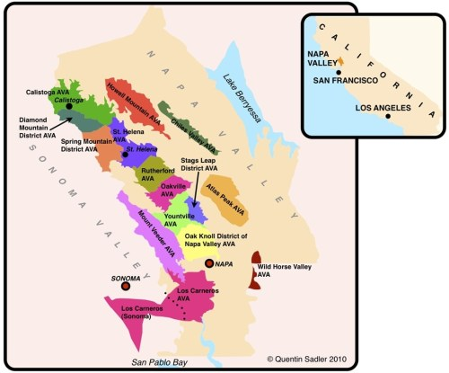 Map of Napa Valley courtesy of jacksonvillewineguide.com