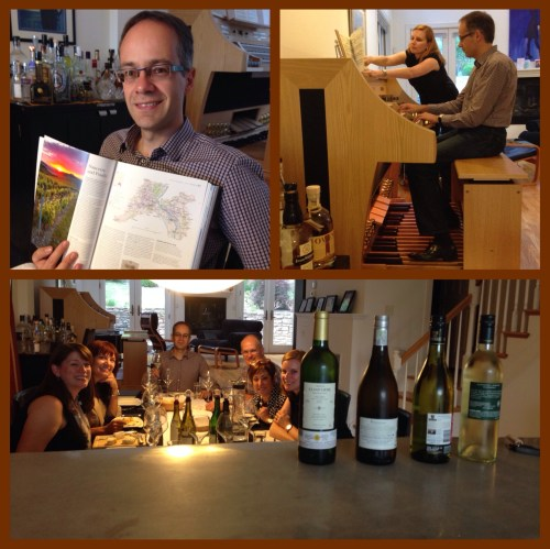 Top L: Guenter Matthews with World Atlas of Wine; Bethanie Butcher turning pages for organist Guenter Matthews; the Sancerre tasting group.