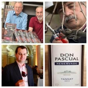 Clockwise from upper left: dal Pizzo brothers; de Lucca; signature Tannat wine; Morio