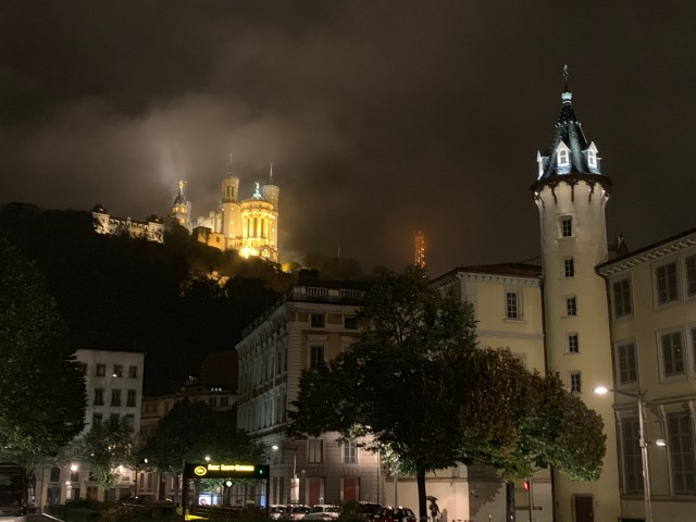 Lyon at night, view of the cathedral while standing in the Place Bellecour