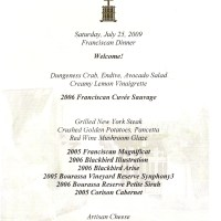 Franciscan Dinner menu