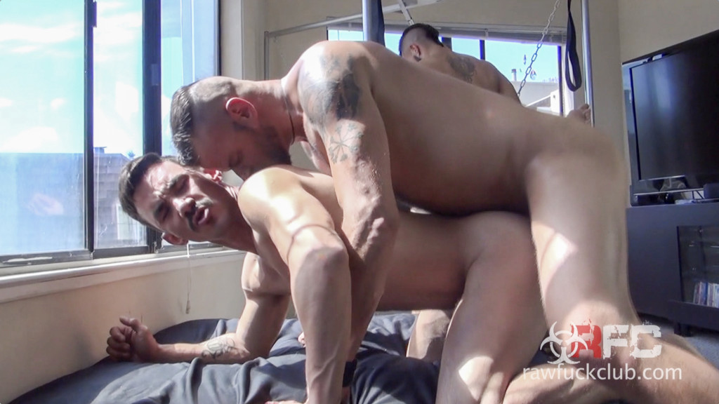 Derrick Hanson Aarin Asker Billy Warren Adam Avery gay hot daddy dude men bareback porn Raw Fuck Club