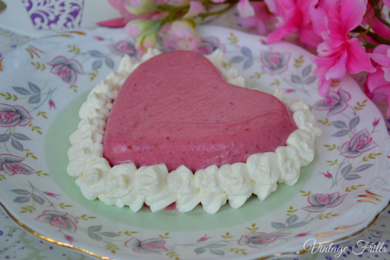 Raspberry Blancmange Recipe with Whipped Cream