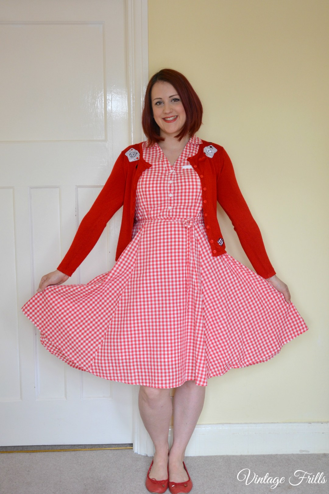 Sainsburys Red Gingham 1950s Dress