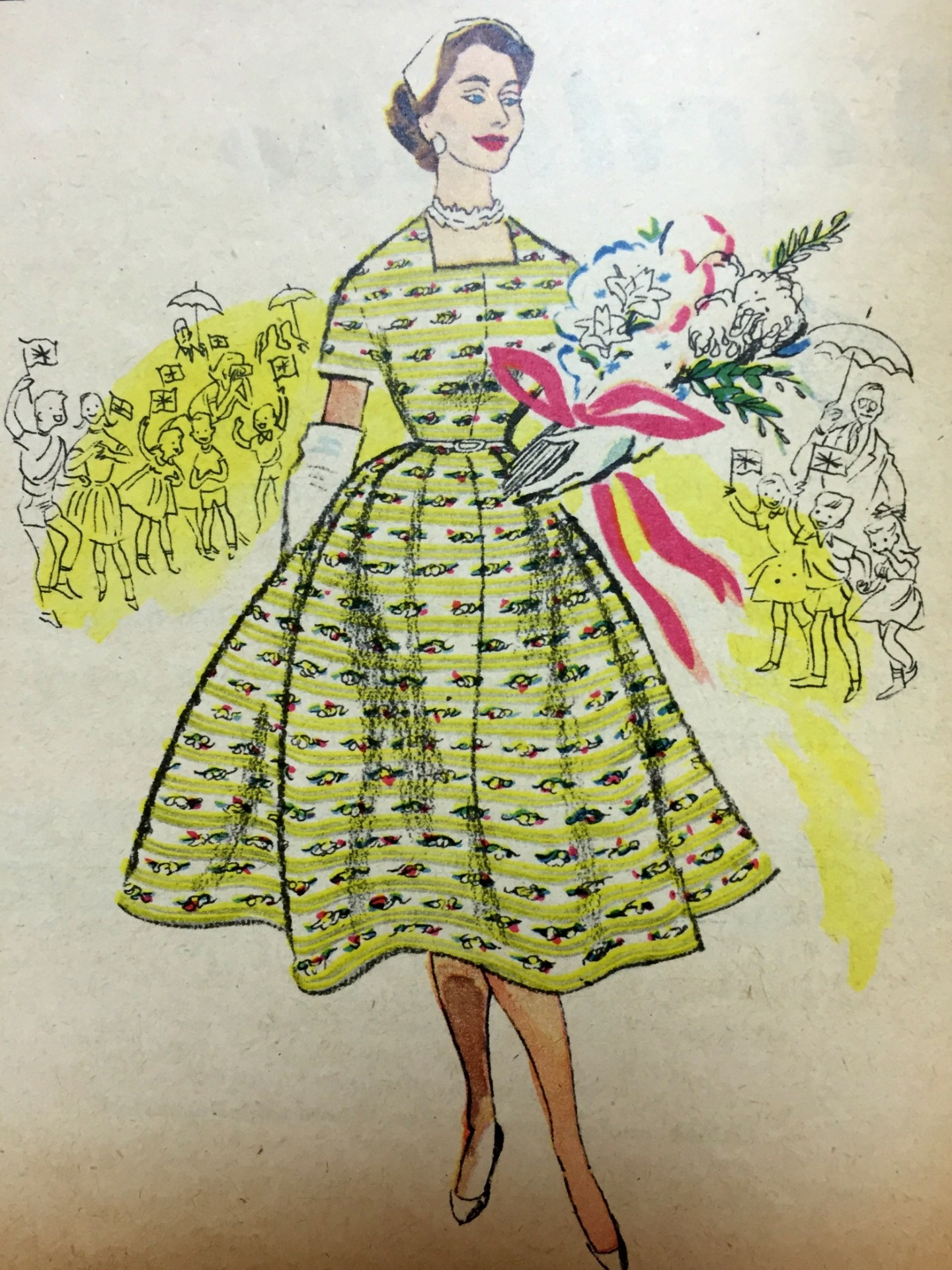 The Queen Yellow Horrockses Dress 1954