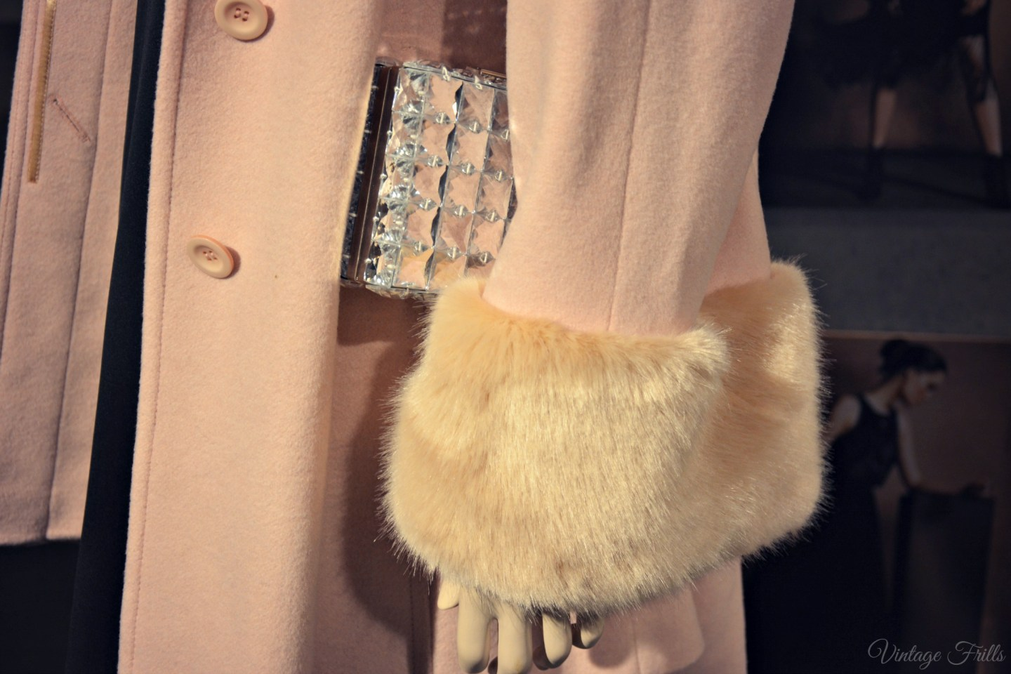 Coast AW15 Press Day Pink Fur Trimmed Coat Detail