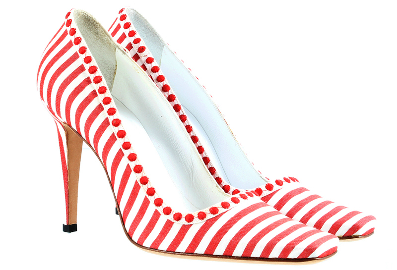 Red and White Striped Manolo Blahnik Shoes