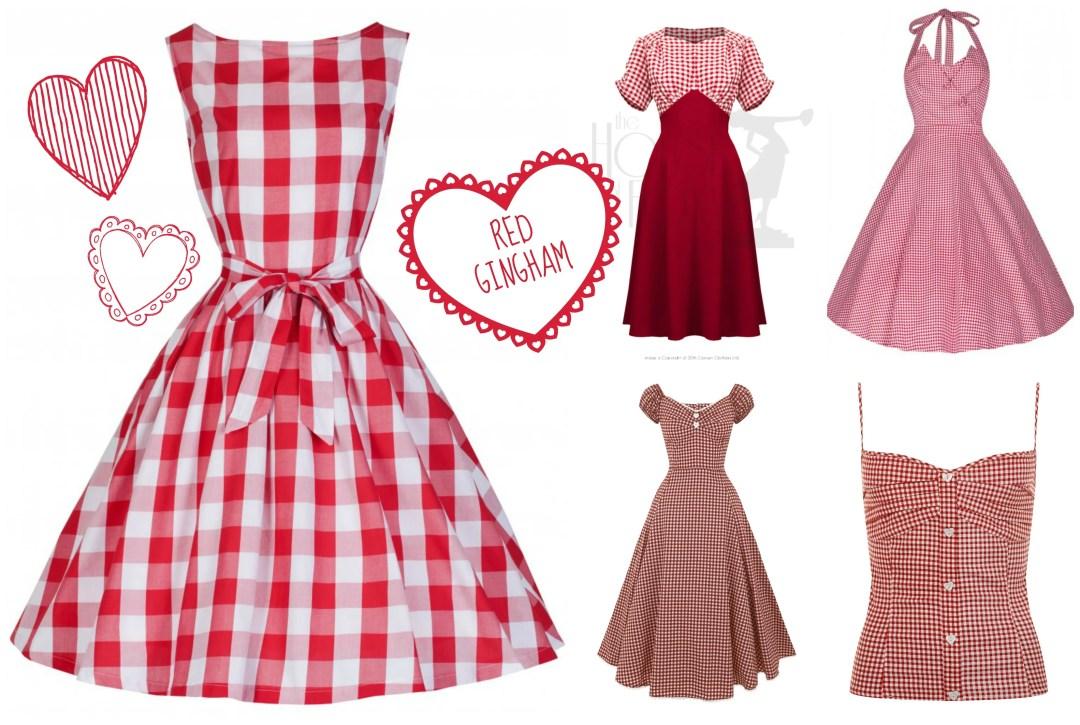 Red Gingham Vintage Style Dresses