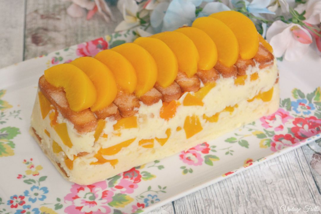 Peach Marshmallow Refrigerator Dessert from a 1960s Recipe